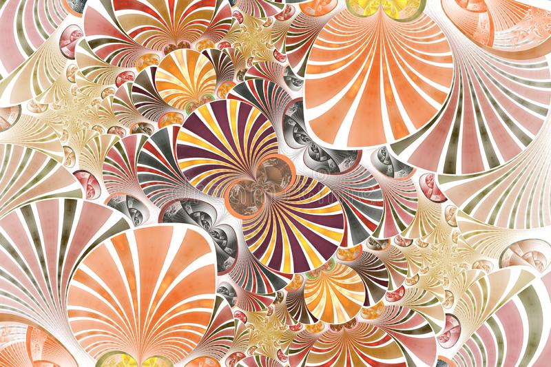 Färgrik symmetrisk fractalblomma Digital konstverk för idérik grafisk design vektor illustrationer