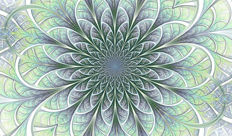 Färgrik symmetrisk fractalblomma Digital konstverk för idérik grafisk design yellow för modell för hjärta för blommor för fjärils stock illustrationer