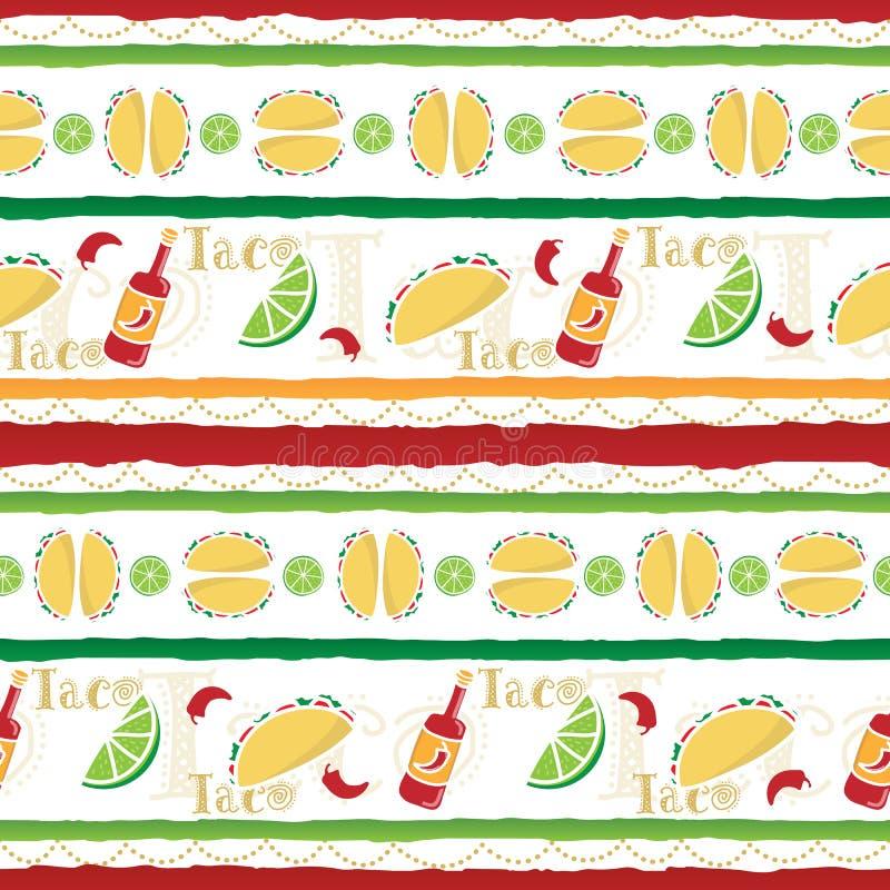 Färgrik tacoFiesta stock illustrationer