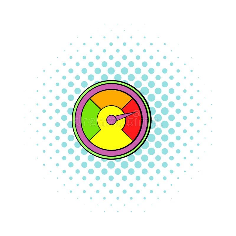 Färgrik takometersymbol, komikerstil vektor illustrationer