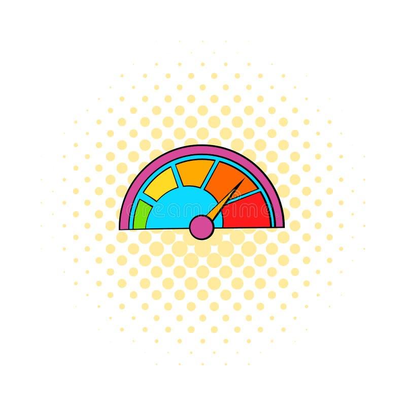 Färgrik takometersymbol, komikerstil royaltyfri illustrationer