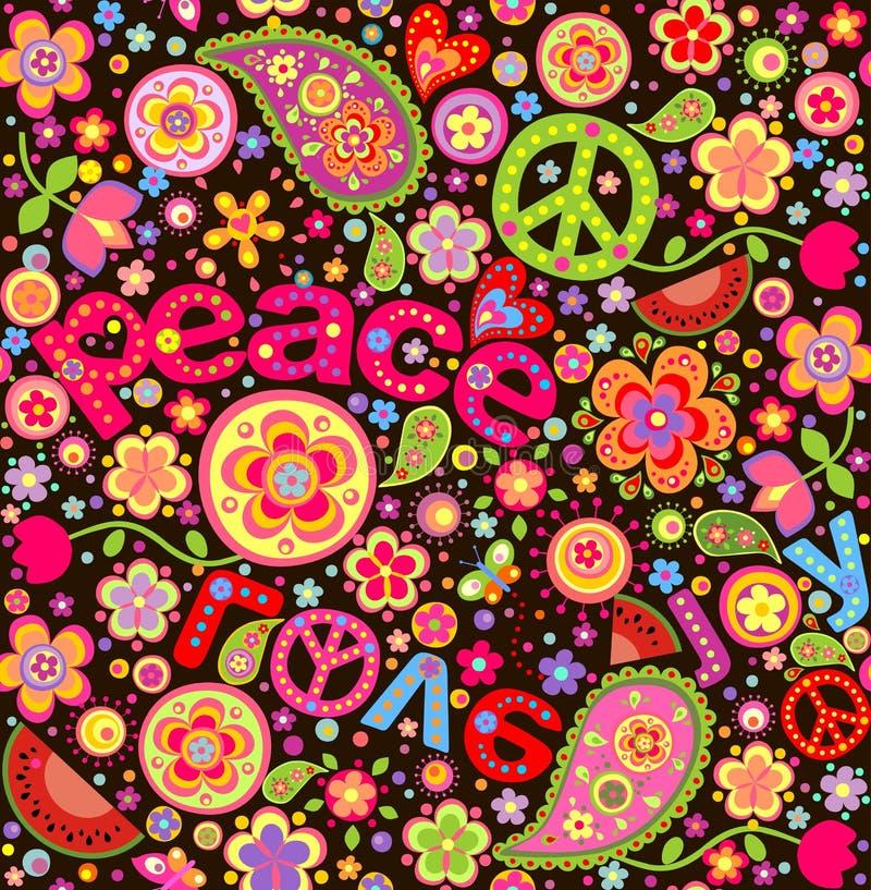 Färgrik tapet för hippie med vattenmelon stock illustrationer
