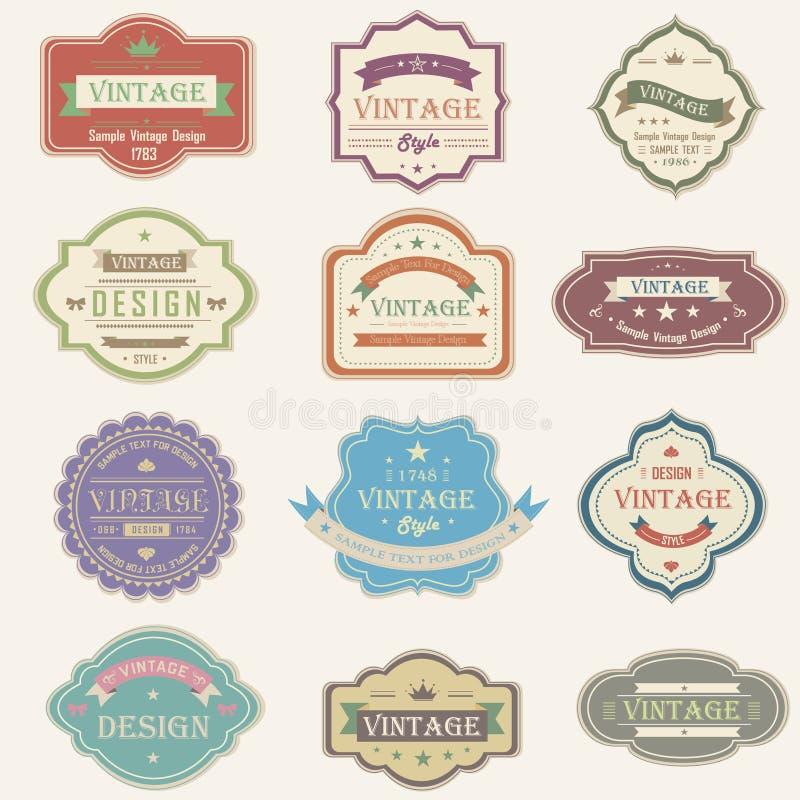 Färgrik tappning och retro emblem planlägger med samp stock illustrationer