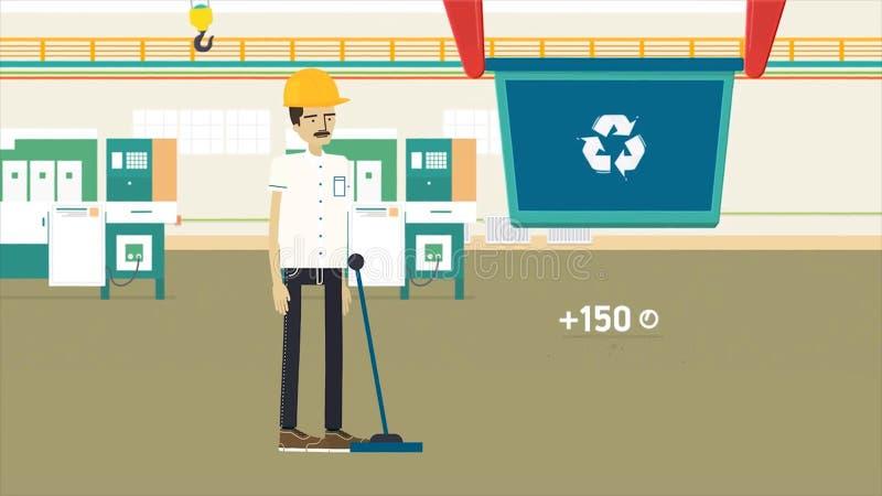 Färgrik tecknad filmanimering med en avskräde som återanvänder fabriks-, ekologi- och miljöbegrepp Arbetare i gul hjälm vektor illustrationer