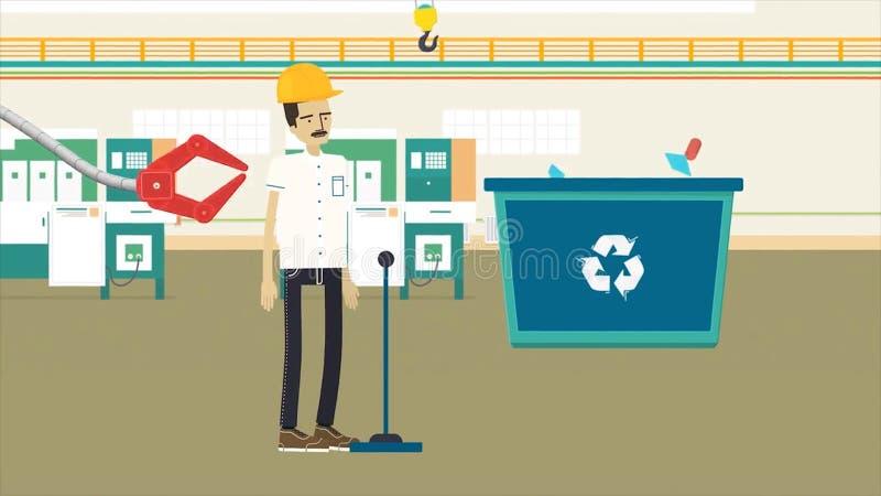 Färgrik tecknad filmanimering med en avskräde som återanvänder fabriks-, ekologi- och miljöbegrepp Arbetare i gul hjälm stock illustrationer