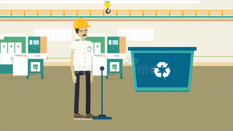 Färgrik tecknad filmanimering med en avskräde som återanvänder fabriks-, ekologi- och miljöbegrepp Arbetare i gul hjälm royaltyfri illustrationer