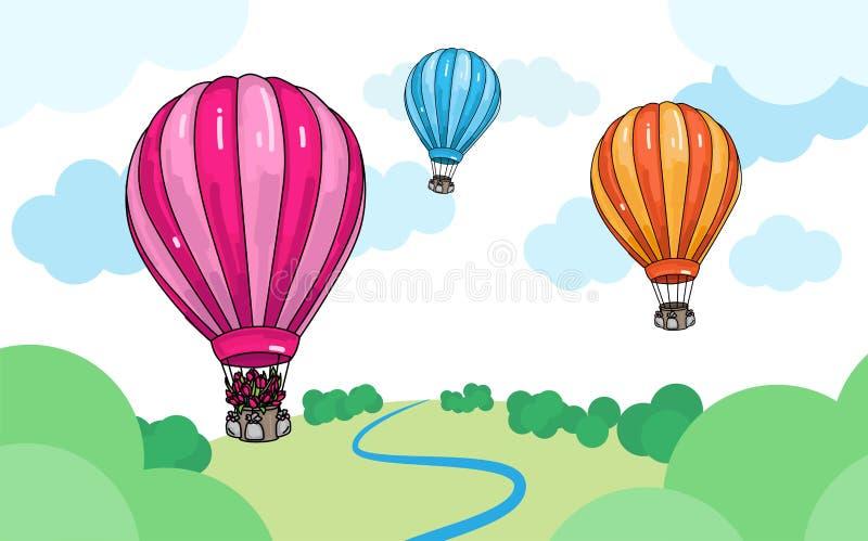 Färgrik tecknad filmillustration av varma ballonger för luft över landskapet royaltyfri illustrationer