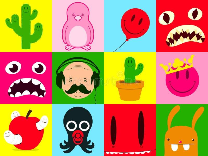 färgrik tecknad filmsamling royaltyfri illustrationer