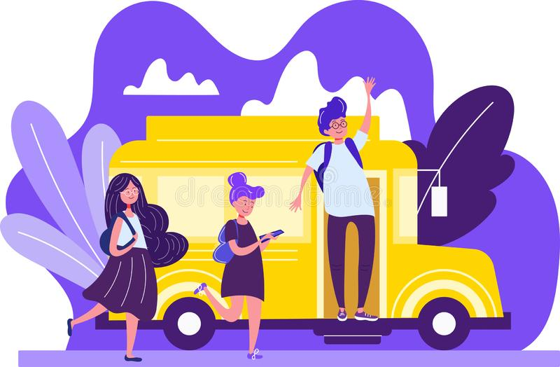 Färgrik teckning av skolbarn på en ljus gul buss med en ung man vektor illustrationer