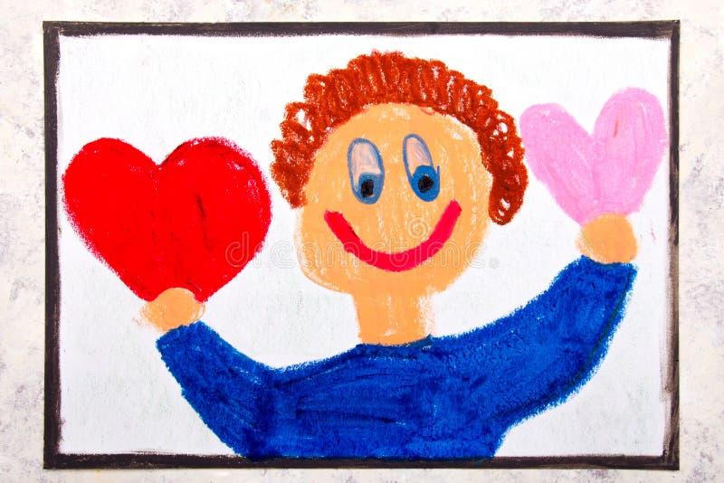 Färgrik teckning: En le pojke rymmer två hjärtor royaltyfria foton