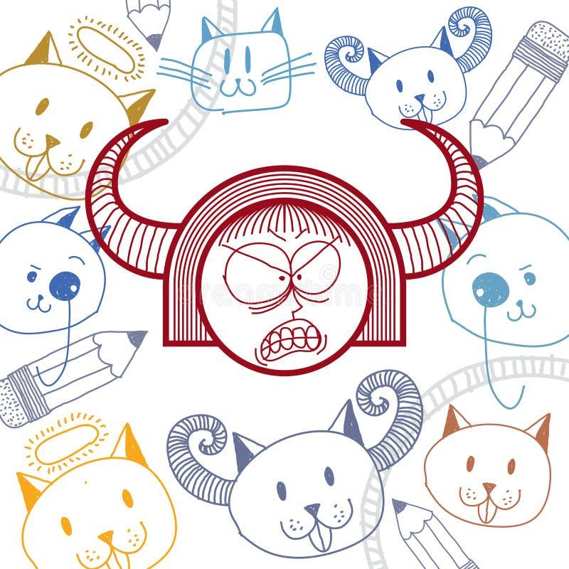 Färgrik teckning för vektordiagram av personlighetsframsidan, rasande fem stock illustrationer