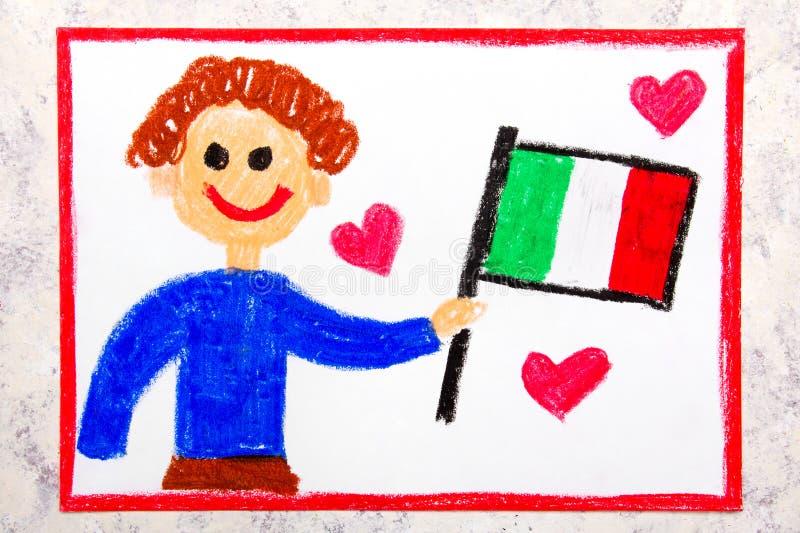 Färgrik teckning: Hållande italiensk flagga för lycklig man flagga italy royaltyfri bild