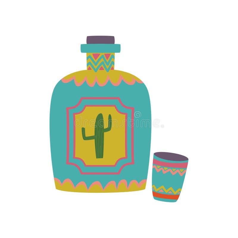 Färgrik tequilaflaska med tecknad filmvektorillustrationen vektor illustrationer