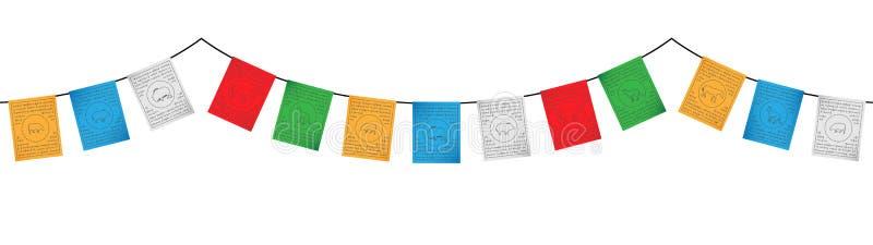 Färgrik tibetan flaggagarnering royaltyfria foton