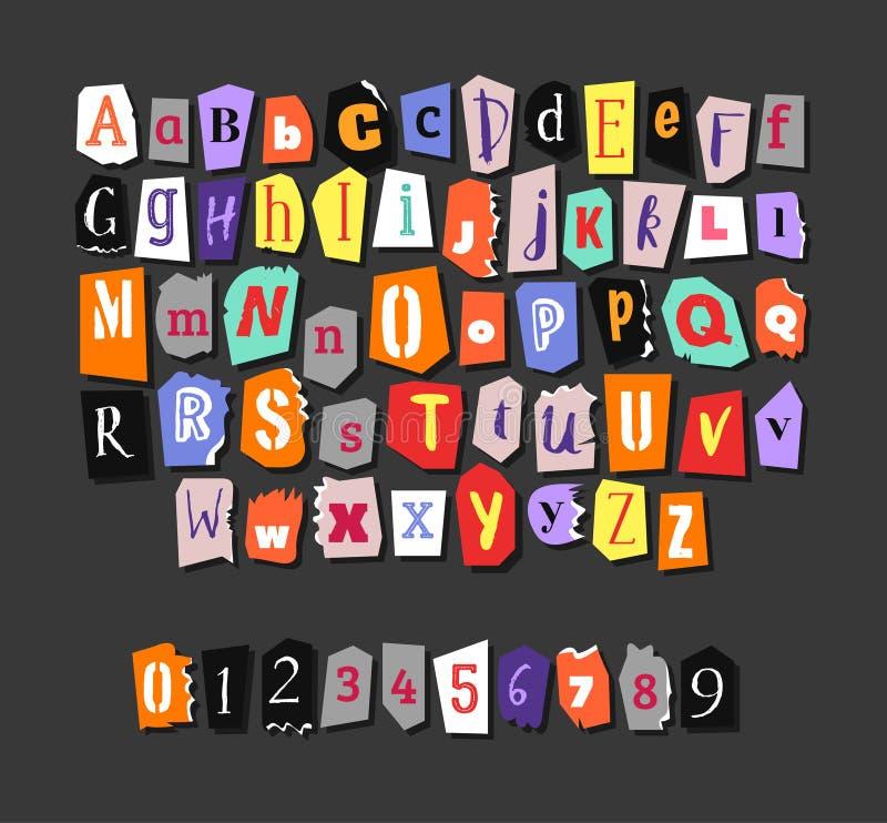 färgrik tidning för alfabet Hand - gjord anonym uppsättning Vektorbokstäver, nummer vektor illustrationer