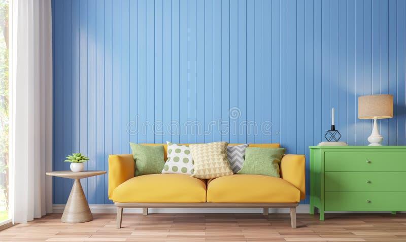 Färgrik tolkningbild för vardagsrum 3d vektor illustrationer