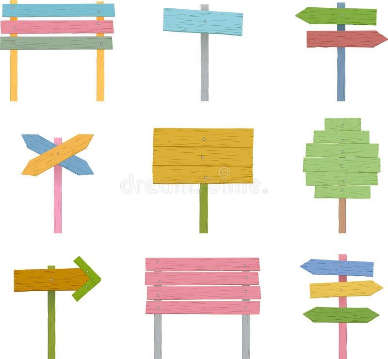 Färgrik träteckenuppsättning stock illustrationer