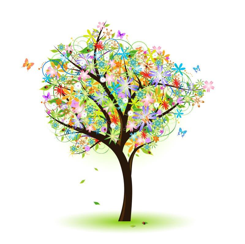 färgrik tree royaltyfri illustrationer