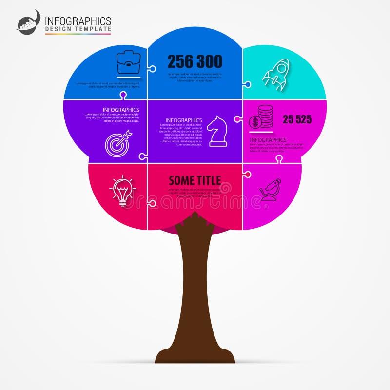 färgrik tree Infographic designmall Jigsaw vektor stock illustrationer