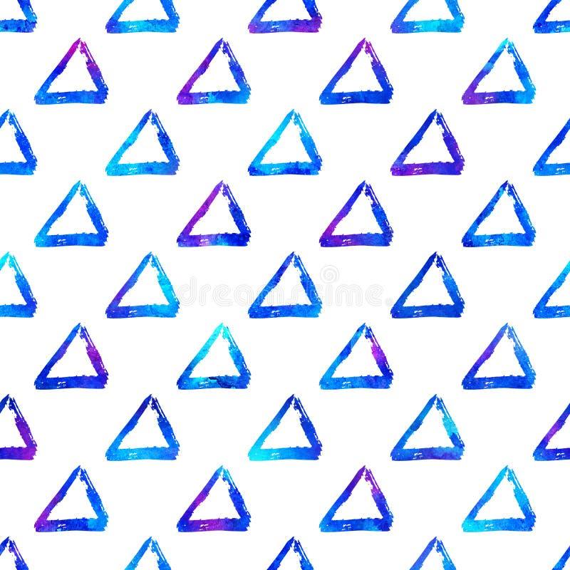 Färgrik triangel för sömlös modellborste Blå färg på vit bakgrund Hand målad lantgårdtextur Geometriskt färgpulver royaltyfri illustrationer