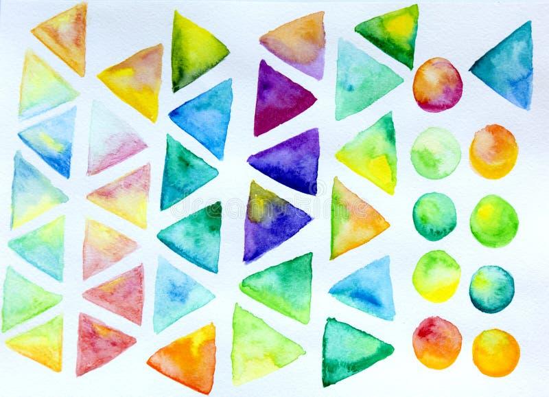 Färgrik triangel- och cirkelbakgrund för vattenfärg royaltyfri illustrationer