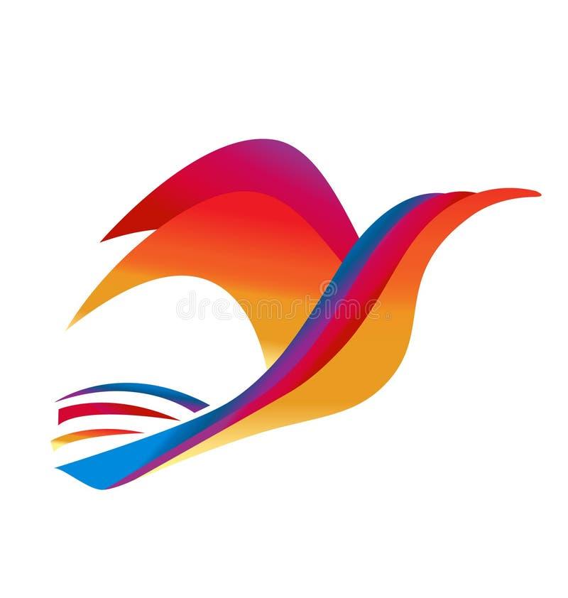 Färgrik tropisk fågelsymbol royaltyfri illustrationer