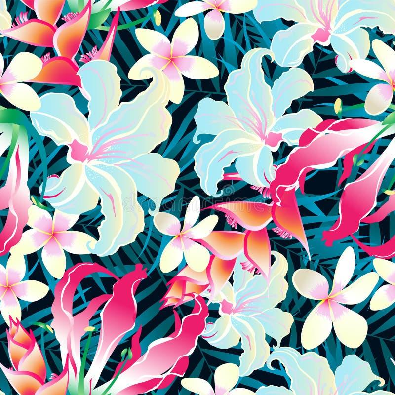 Färgrik tropisk sömlös modell royaltyfri illustrationer