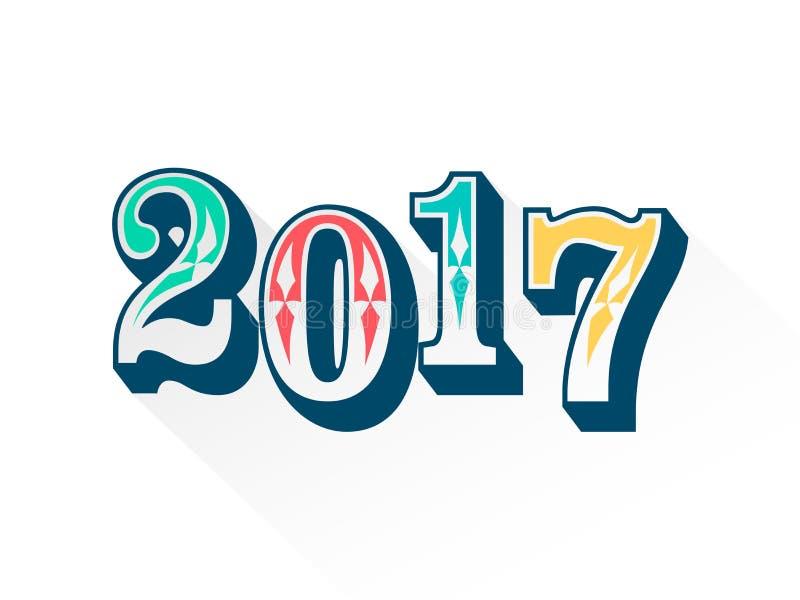 Färgrik typografi av 2017 royaltyfria bilder