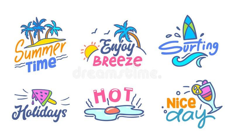 Färgrik typografi med klotterbeståndsdeluppsättningen, sommar Tid, tycker om bris som surfar, ferier, gemet Art Drawing för den v vektor illustrationer