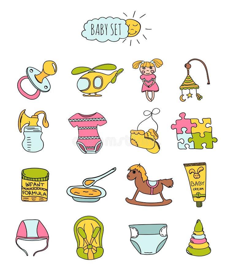 Färgrik uppsättning av barns symboler i hand dragen stil Tillbehör, kläder och leksaker för newborns vektor stock illustrationer