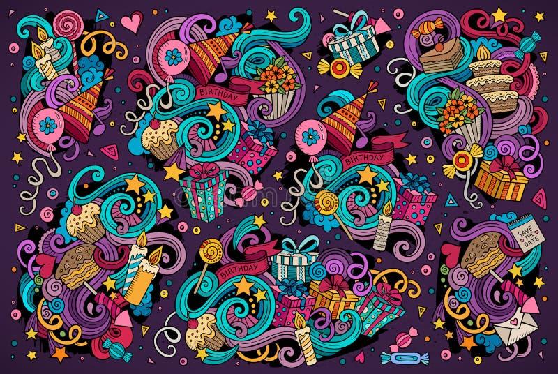 Färgrik uppsättning av ferieobjekt royaltyfri illustrationer