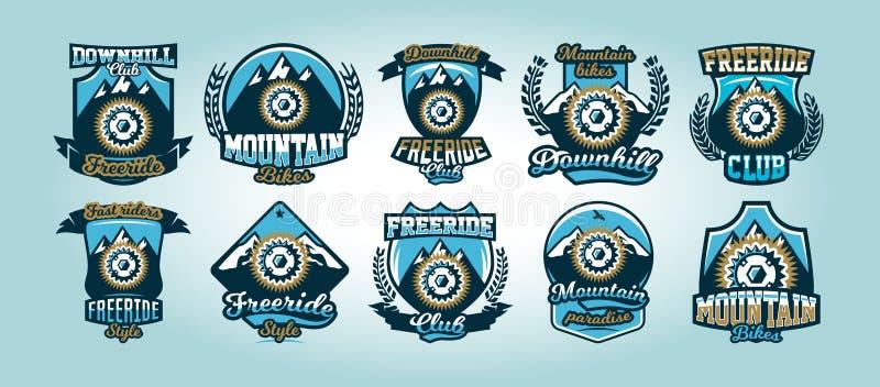 Färgrik uppsättning av logoer, emblem, cykeltandhjulberg i bakgrunden, isolerad vektorillustration klubba vektor illustrationer