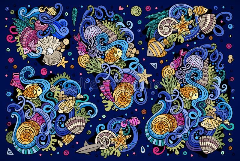 Färgrik uppsättning av objekt för marin- liv stock illustrationer