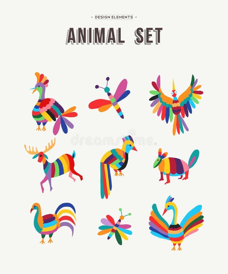 Färgrik uppsättning av symbolsillustrationer för löst djur royaltyfri illustrationer
