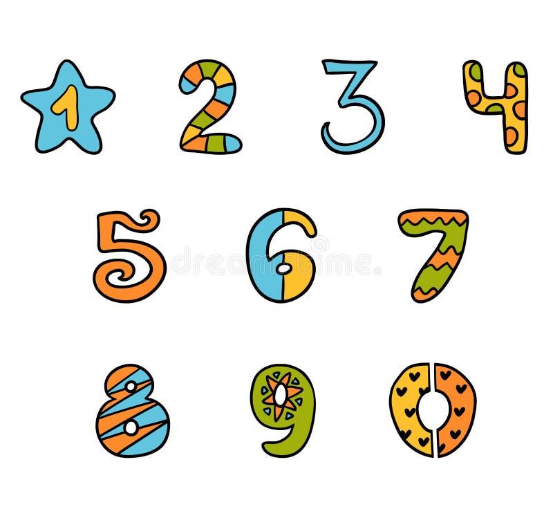 Färgrik uppsättning av tecknad filmsymboler, nummer från noll till nio vektor illustrationer