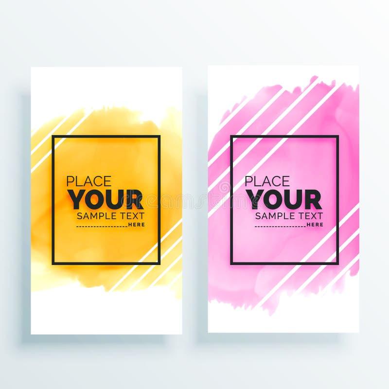 Färgrik uppsättning av vattenfärgbaner vektor illustrationer