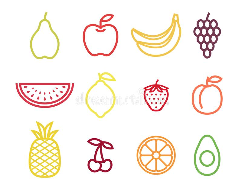 Färgrik uppsättning för översiktsfruktsymbol Fruktsymboler i färgslaglängd vektor illustrationer