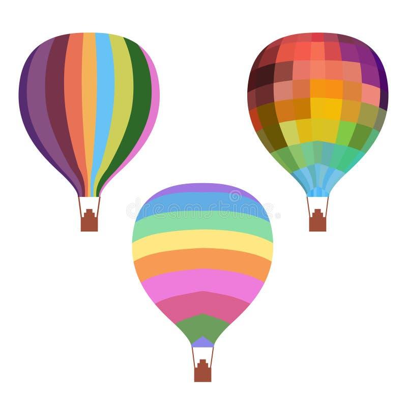 Färgrik uppsättning för ballonger för varm luft för teckning royaltyfri illustrationer