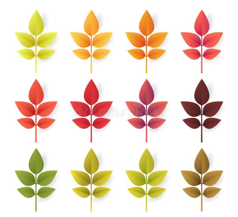 Färgrik uppsättning för höstsidor som isoleras på vit bakgrund Papperssnittet 3d sänker stil, vektorillustration vektor illustrationer