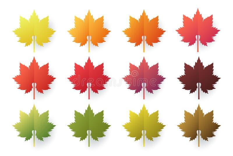 Färgrik uppsättning för höstsidor som isoleras på vit bakgrund Papperssnittet 3d sänker stil, vektorillustration stock illustrationer
