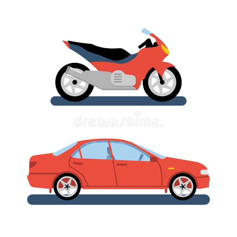Färgrik uppsättning för motorcykel och för bil stock illustrationer