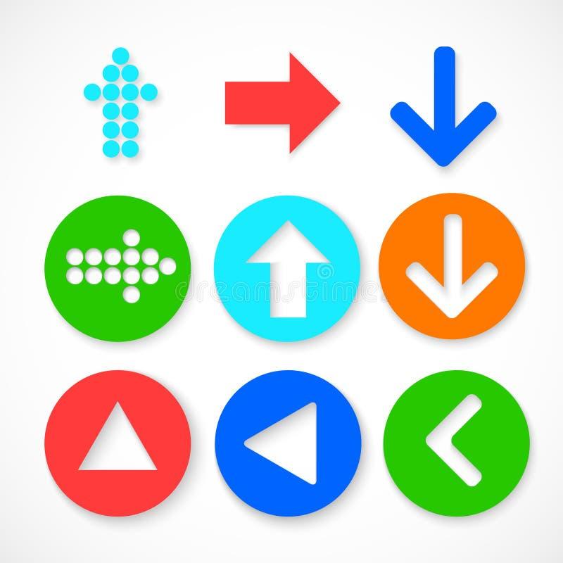 Färgrik uppsättning för pilteckensymbol. royaltyfri fotografi