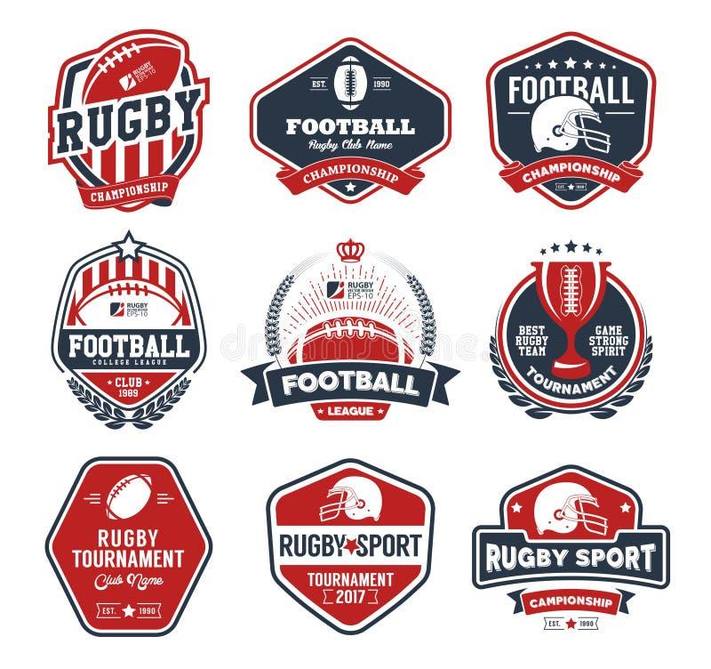 Färgrik uppsättning för rugbylogo, mall för fotbollemblemlogo royaltyfri illustrationer
