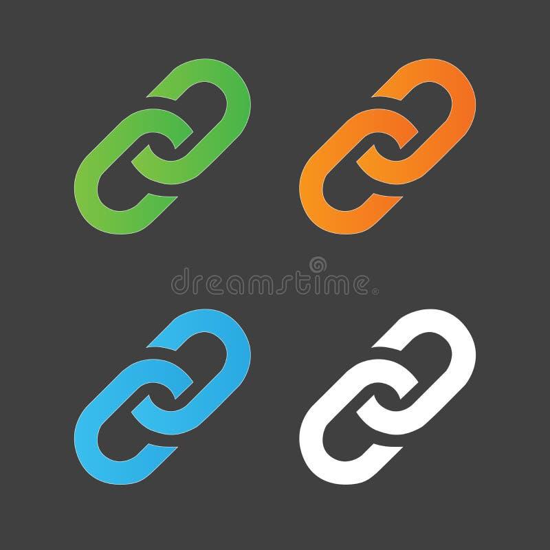 Färgrik uppsättning för sammanlänkningssymbol Chain symbol för Hyperlink enkel symbol Vektorillustration som isoleras på grå bakg stock illustrationer