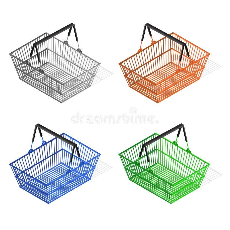 Färgrik uppsättning för shoppingkorg vektor stock illustrationer