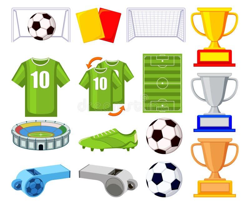 Färgrik uppsättning för tecknad filmfotboll 150elements stock illustrationer