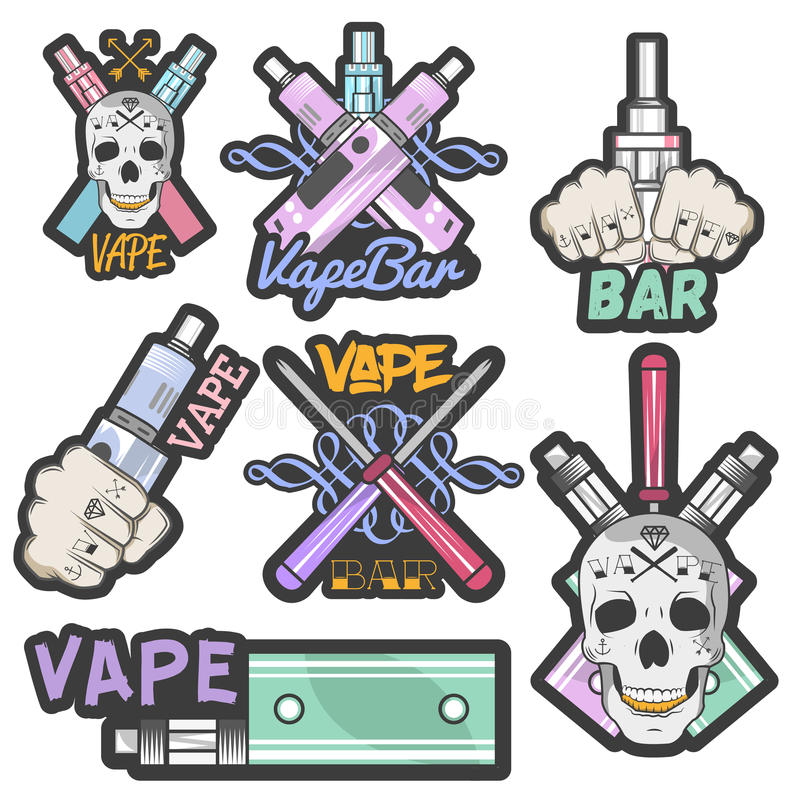 Färgrik uppsättning för vektor av vapestångklistermärkear, baner, logoer, etiketter, emblem eller emblem Elektronisk cigarett för stock illustrationer
