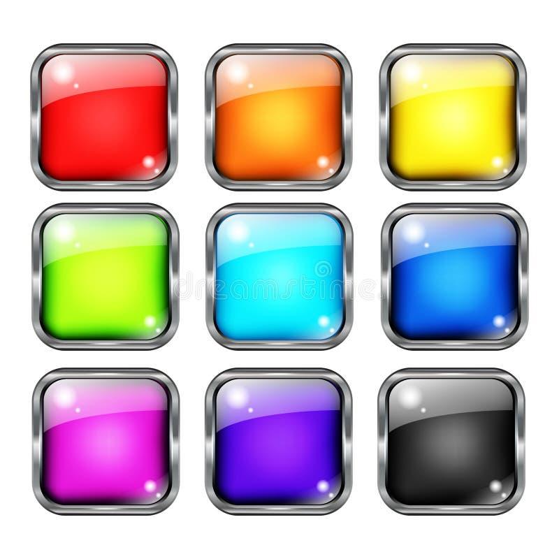 Färgrik uppsättning för vektor för rengöringsdukknappdesign royaltyfri illustrationer