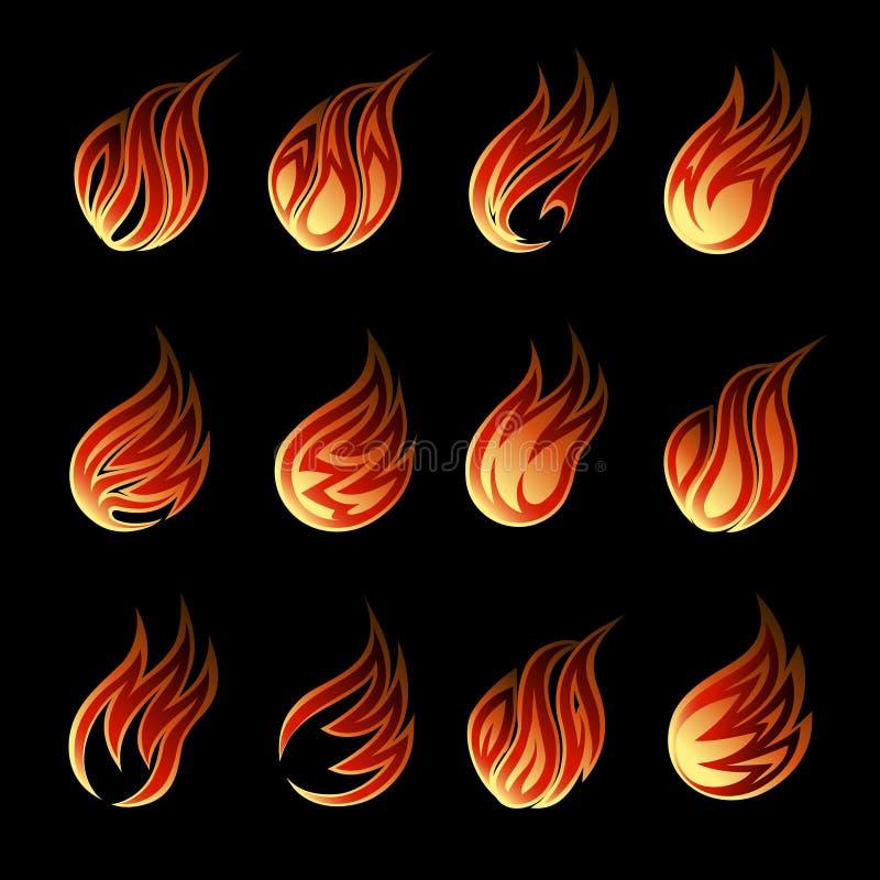 Färgrik uppsättning för vektorbrandsymbol royaltyfri illustrationer