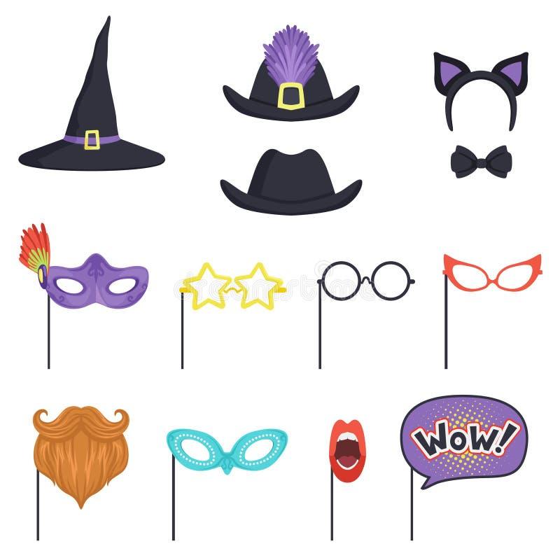 Färgrik uppsättning med karnevalmaskeringar och hattar Häxalock, exponeringsglas, skägg, kanter, anförandebubbla, kattöron och fl royaltyfri illustrationer